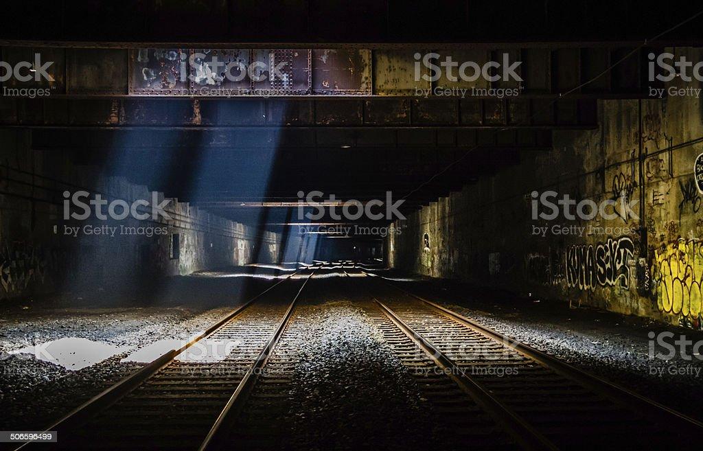 Grunge Train Tunnel stock photo