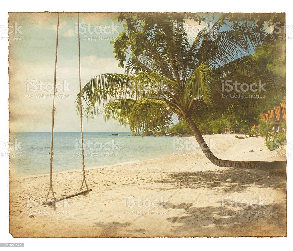Grunge tropical postcard stock photo