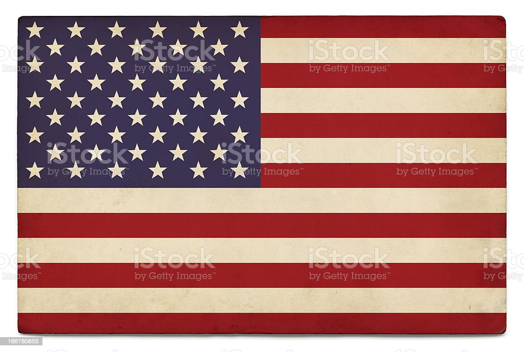 Grunge US flag on white stock photo