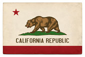 Grunge US state flag on white: California