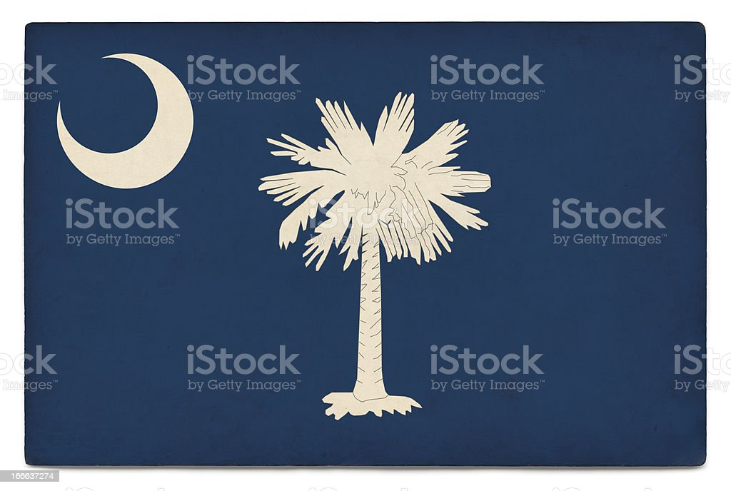 Grunge US state flag on white: South Carolina royalty-free stock photo