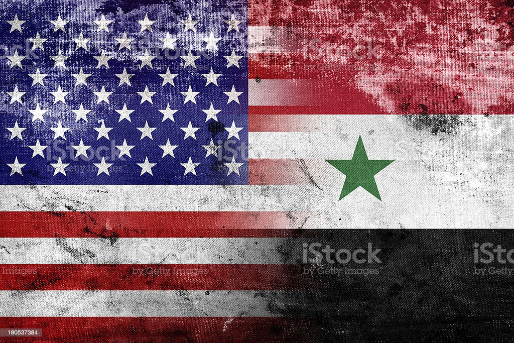 Grunge USA and Syria flag royalty-free stock photo
