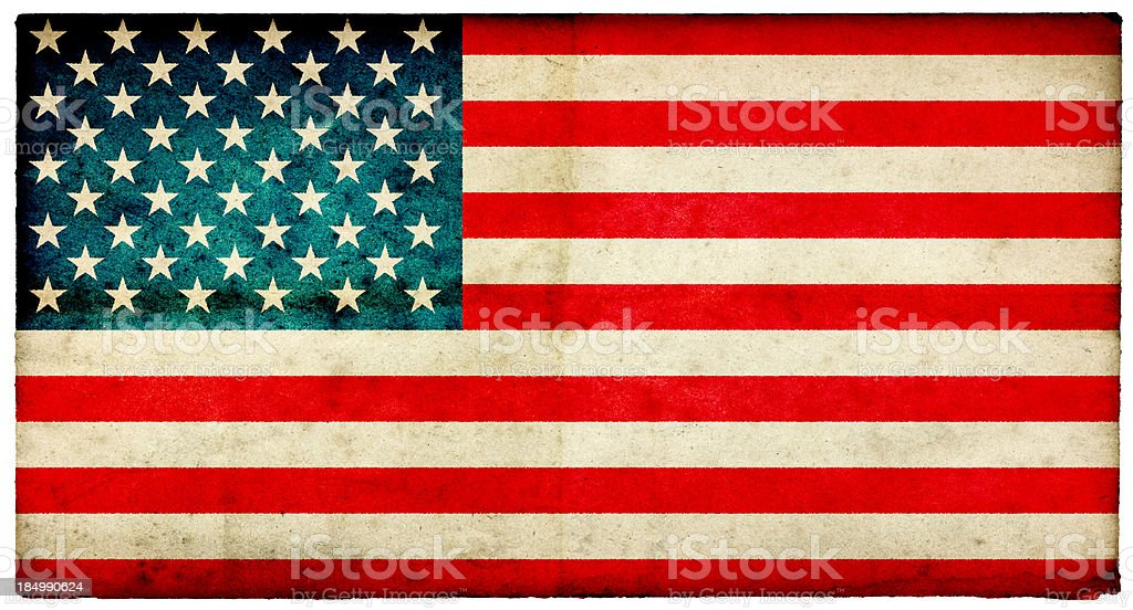 Grunge USA Flag on rough edged old postcard stock photo