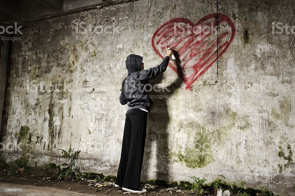 grunge valentine girl royalty-free stock photo