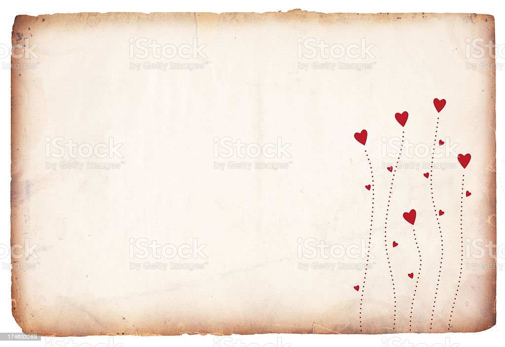 Grunge Valentine paper with red hearts royalty-free stock photo