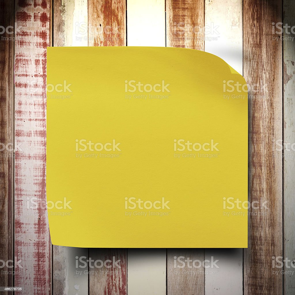 Grunge vintage wood wall with sticker paper note royalty-free stock photo