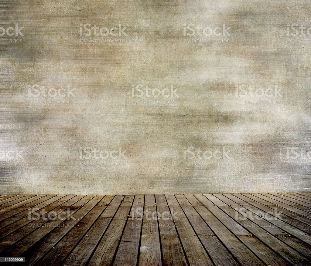 Grunge wall and wood paneled floor royalty-free stock photo