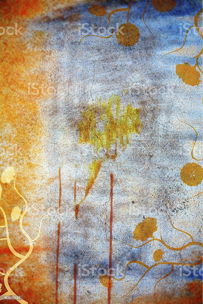 Grunge wall background with daisies stock photo