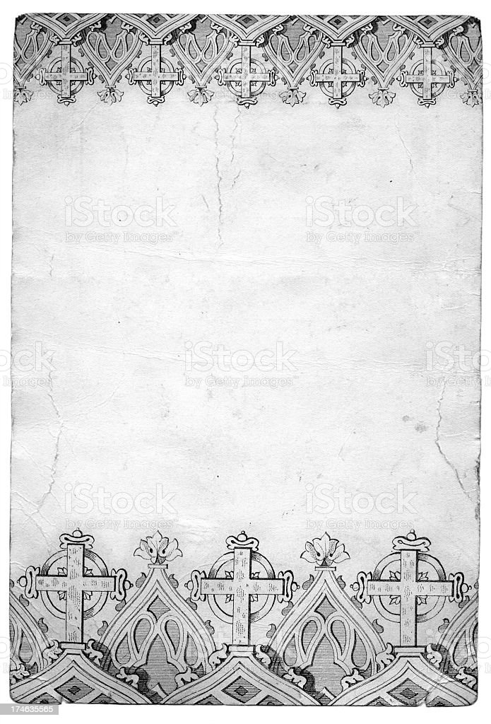 Grunge white cross paper royalty-free stock photo