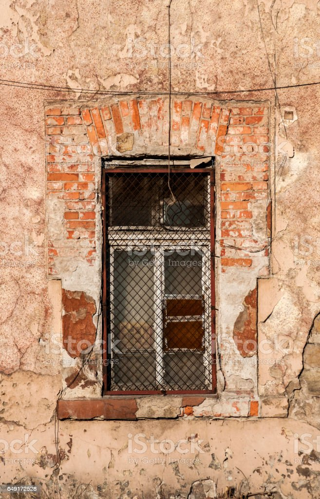 Grunge window of old industrial building stock photo