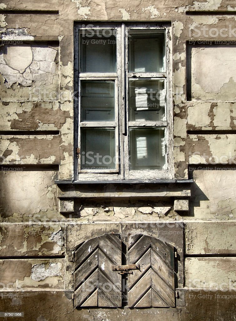 Grunge window - urban decay royalty-free stock photo