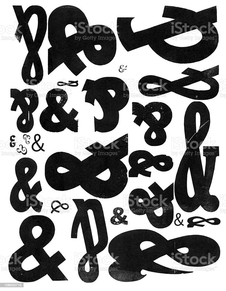 Grunge Wood Type & Ampersand And Pattern royalty-free stock photo