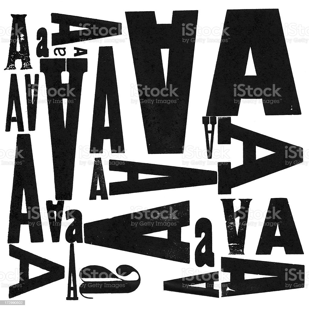 Grunge Wood Type Letter A Variations stock photo