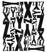 Grunge Wood Type Letters X Y Z