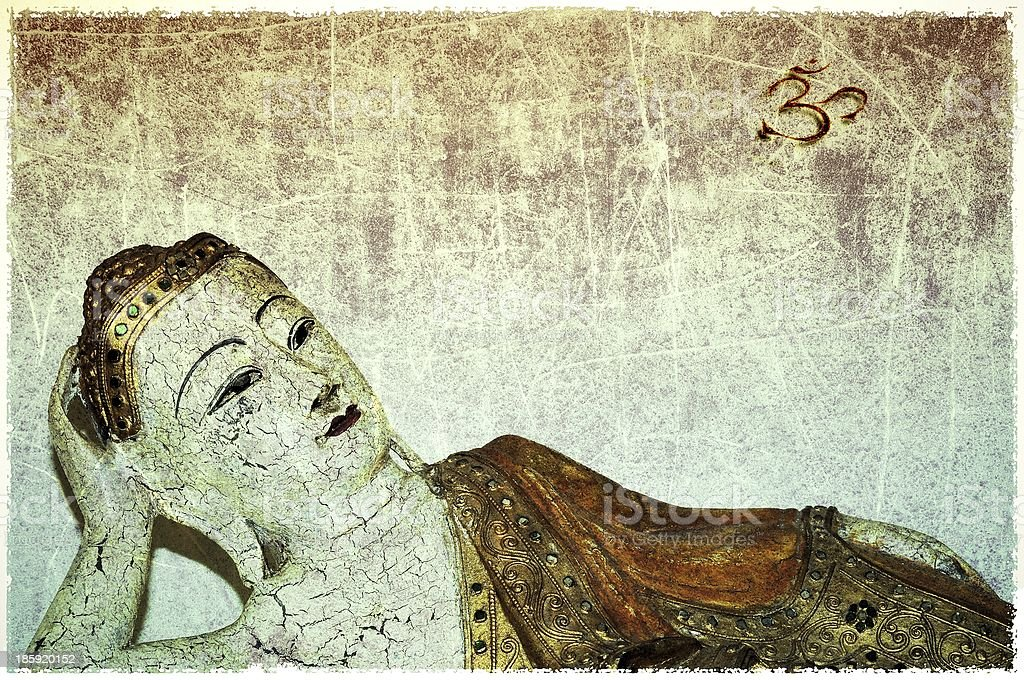 Grunge wooden Buddha with mantra OM royalty-free stock photo