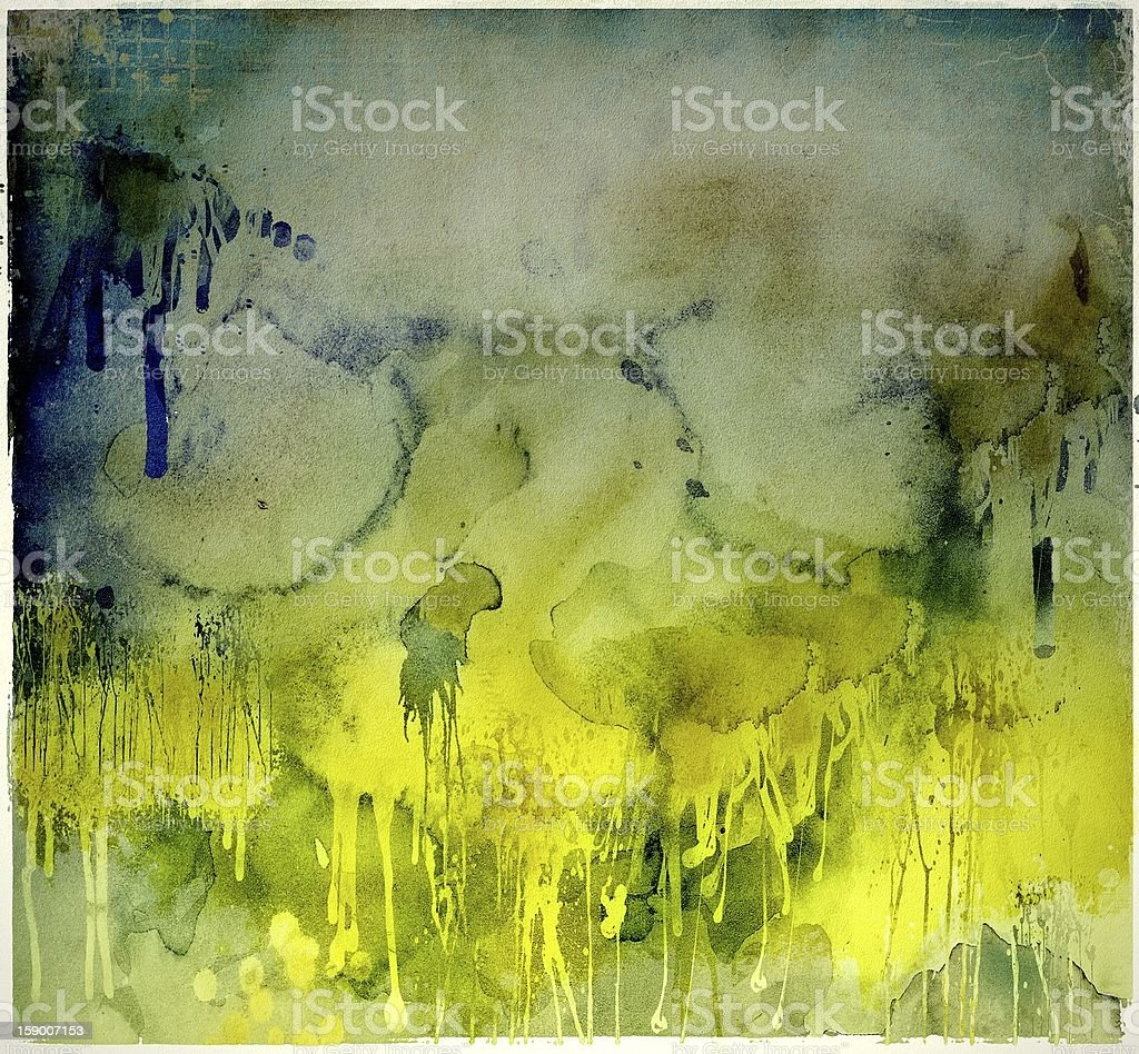 Grunge yellow dripping background royalty-free stock photo