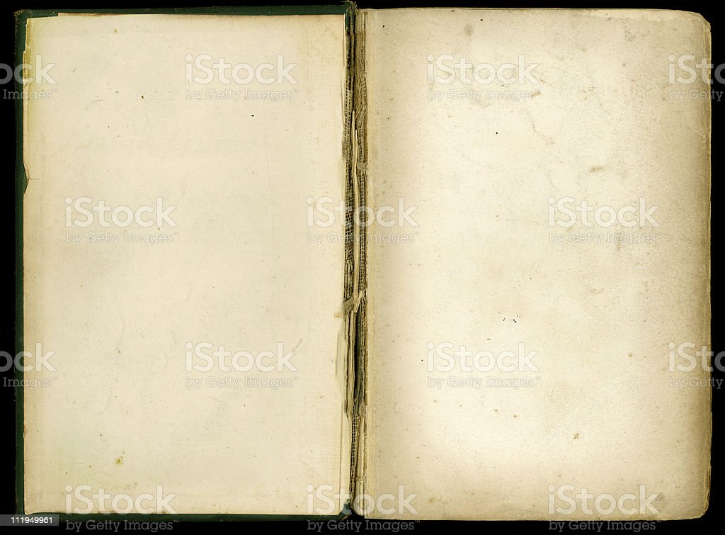 Grungey old book folded open royalty-free stock photo