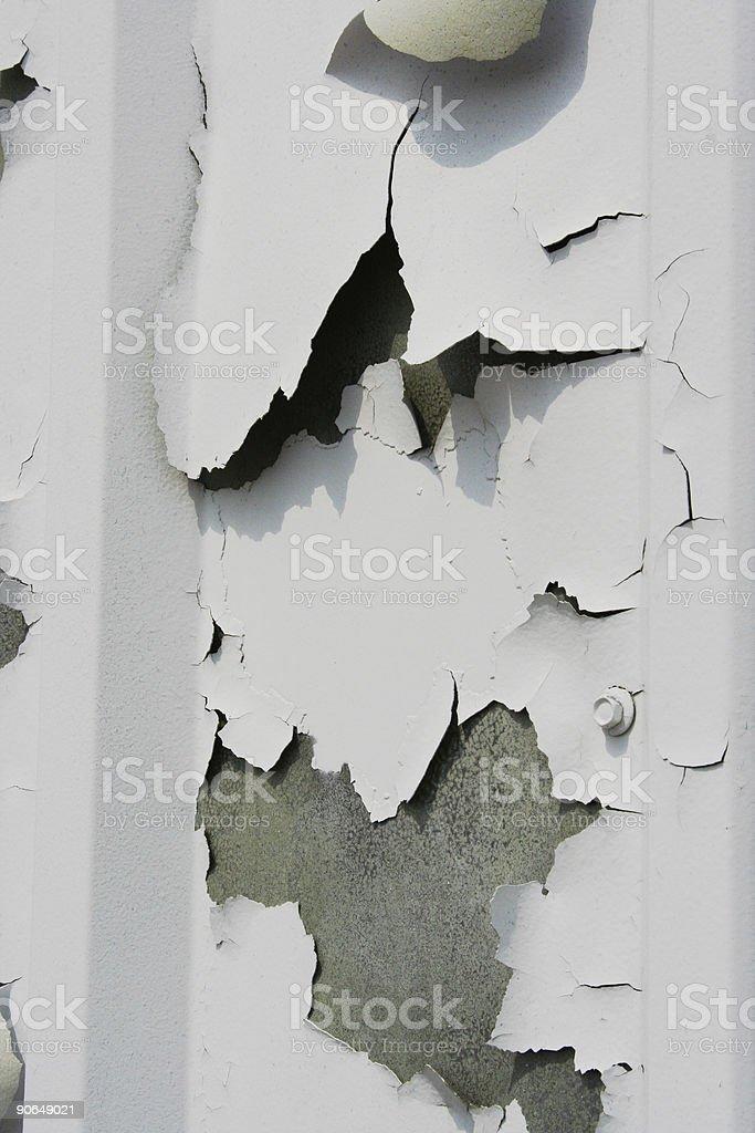 Grungy airplane door hanger with peeling paint stock photo
