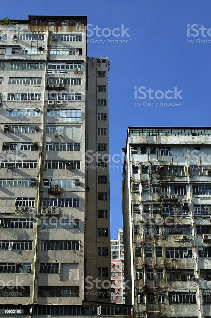 grungy apartment buildings stock photo