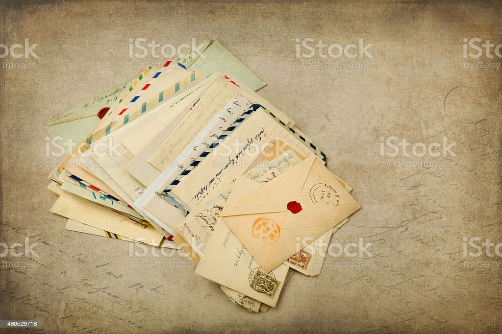 Grungy background and old letters stock photo
