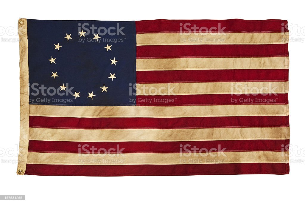Grungy Betsy Ross Flag With Thirteen Stars and Stripes stock photo
