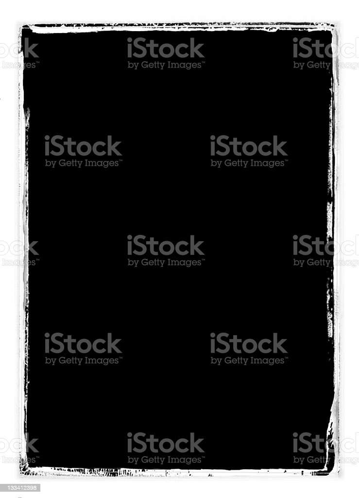 Grungy black and white film border stock photo
