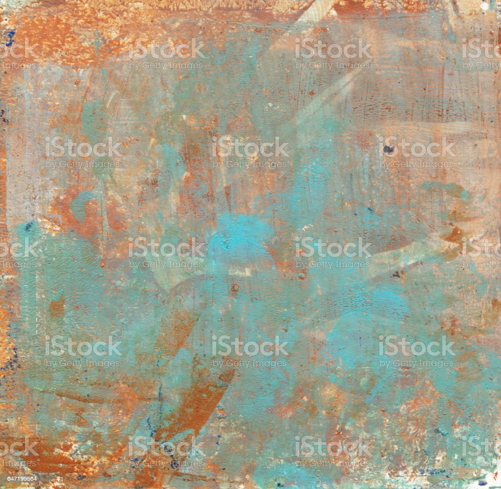 Grungy brown and turquoise mixed media texture vector art illustration