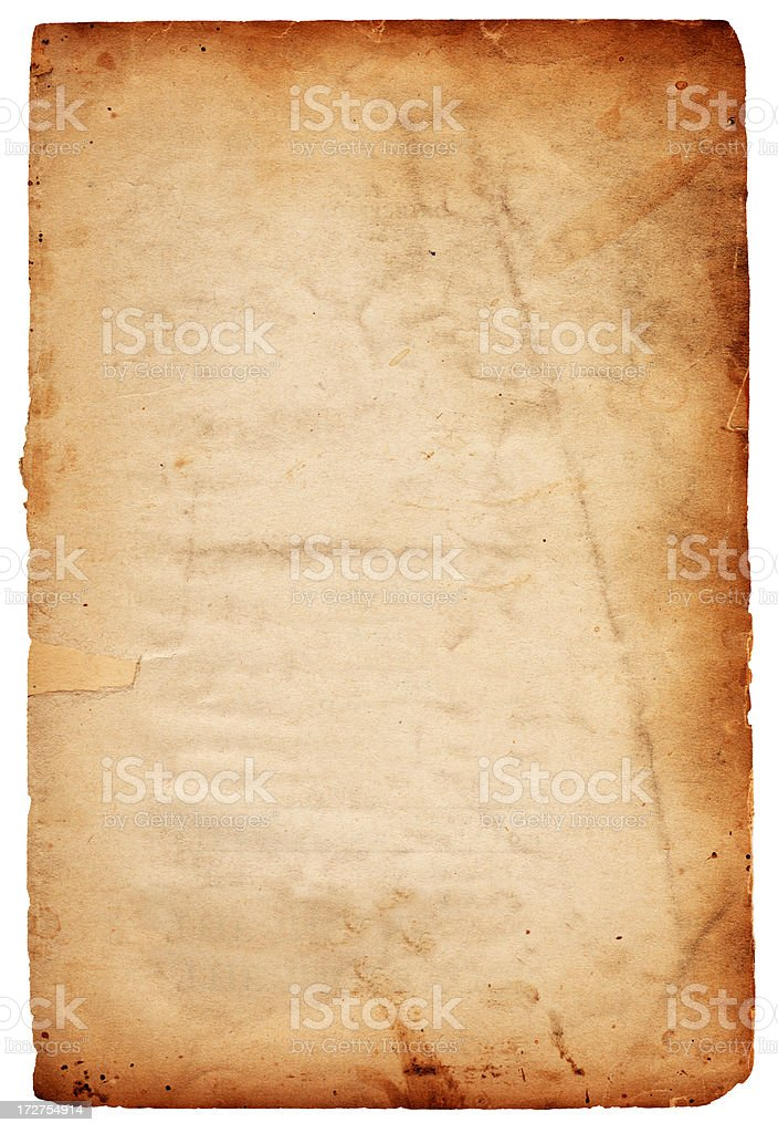 A grungy brown piece of weathered paper stock photo
