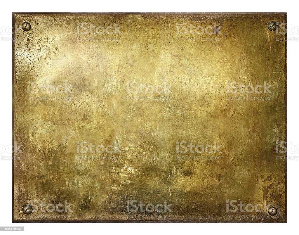 Grungy Brushed Brass Sign stock photo