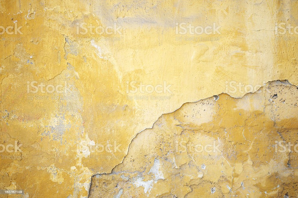 Grungy Cracked Yellow Stucco Wall royalty-free stock photo
