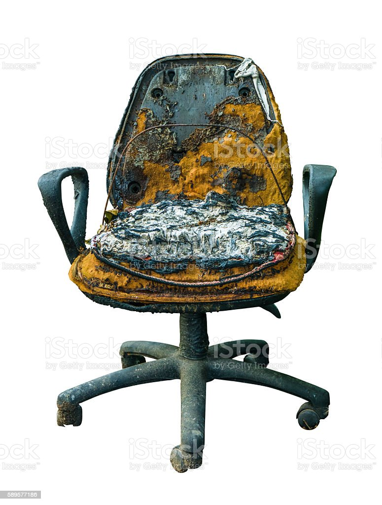 Grungy Damaged Office Chair stock photo