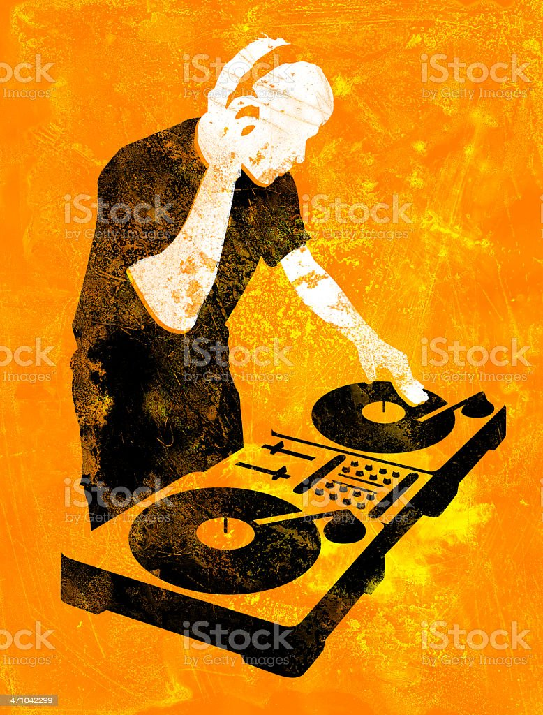 Grungy DJ at Turntable stock photo