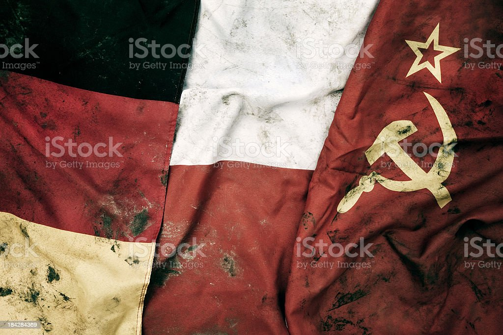 Grungy Flags of Germany, Poland and Soviet Union. stock photo
