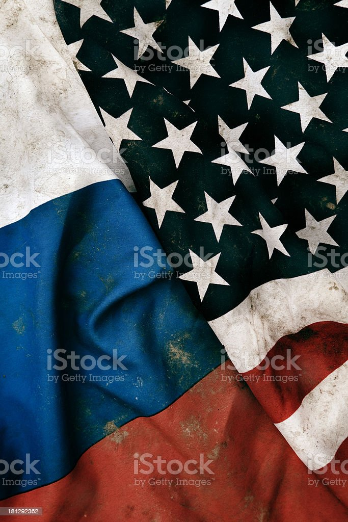 Grungy Flags of Russian Republic and USA royalty-free stock photo