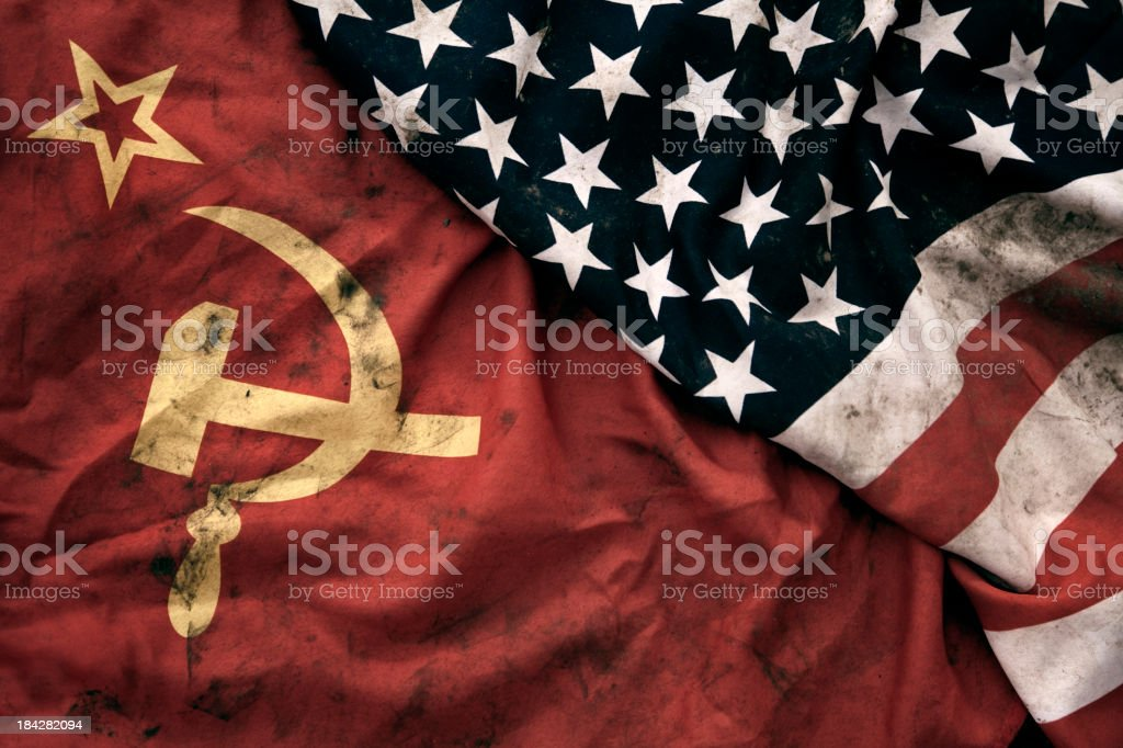 Grungy Flags of Soviet Union and USA stock photo