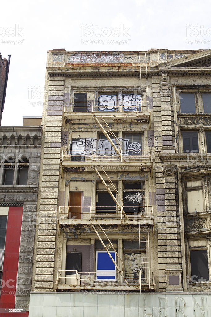 Grungy Grand Graffiti Covered Old Building Washington DC royalty-free stock photo