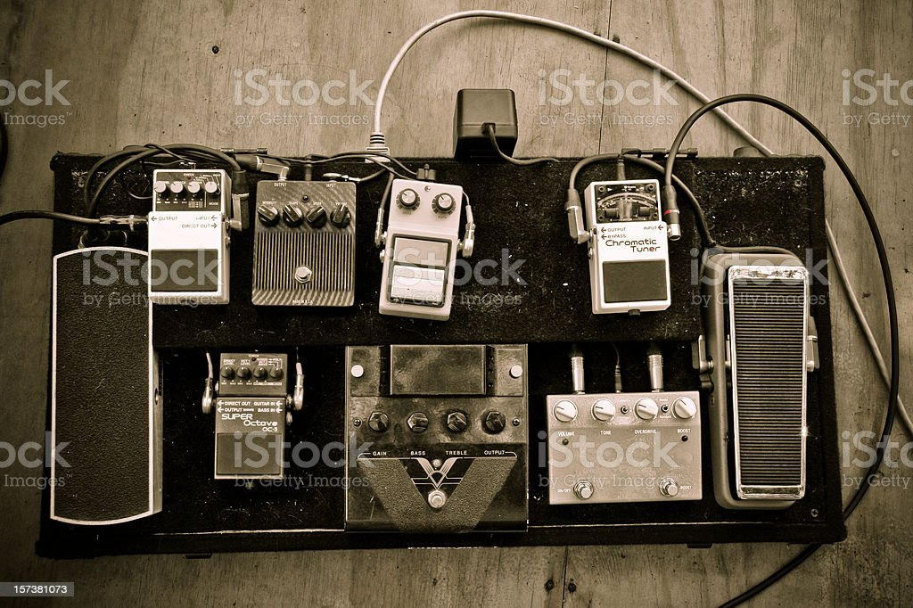 Grungy Guitar Pedals royalty-free stock photo