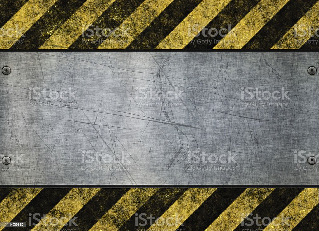 grungy hazard sign metal plate stock photo