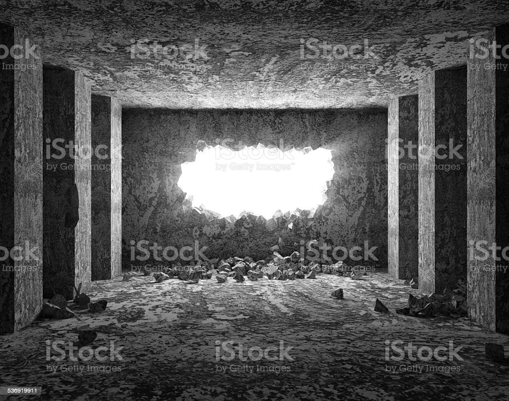 Grungy Interior with Broken Concrete Wall stock photo