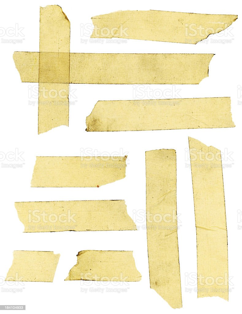 Grungy Masking Tape on White Background (with Clipping Path) royalty-free stock photo