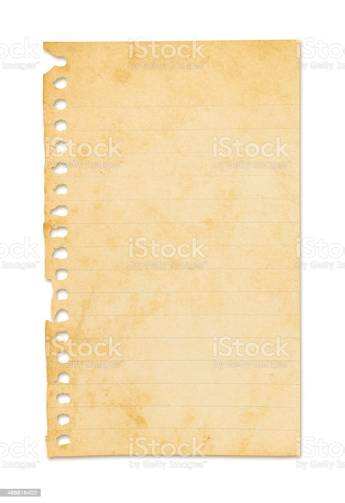 Grungy Note Pad Page (with path) stock photo