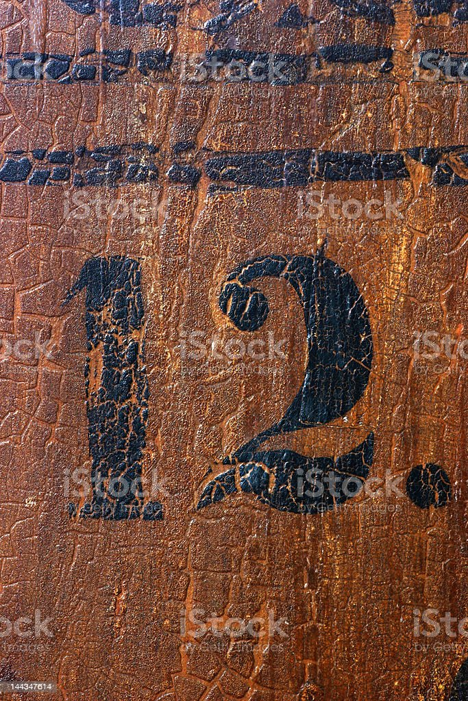 Grungy number 12 stock photo