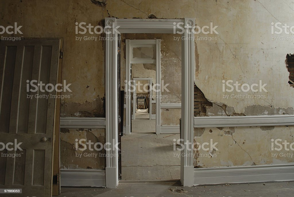 Grungy old building open doors royalty-free stock photo