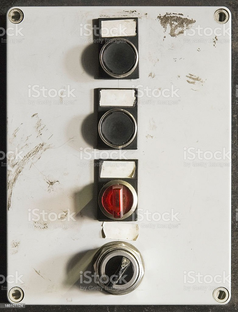 Grungy Old Buttons / Switches stock photo