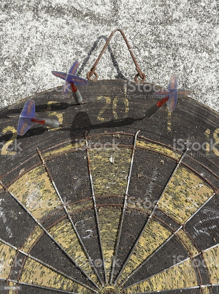 Grungy Old Dartboard royalty-free stock photo