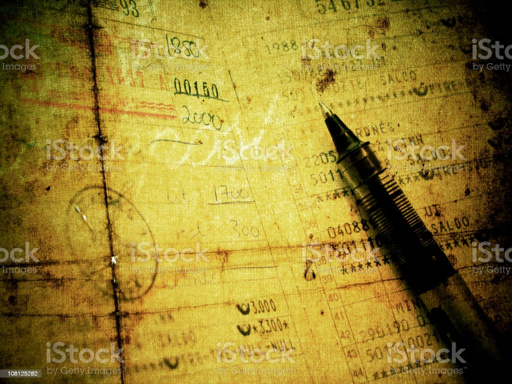 Grungy old Document with Pen On Top royalty-free stock photo