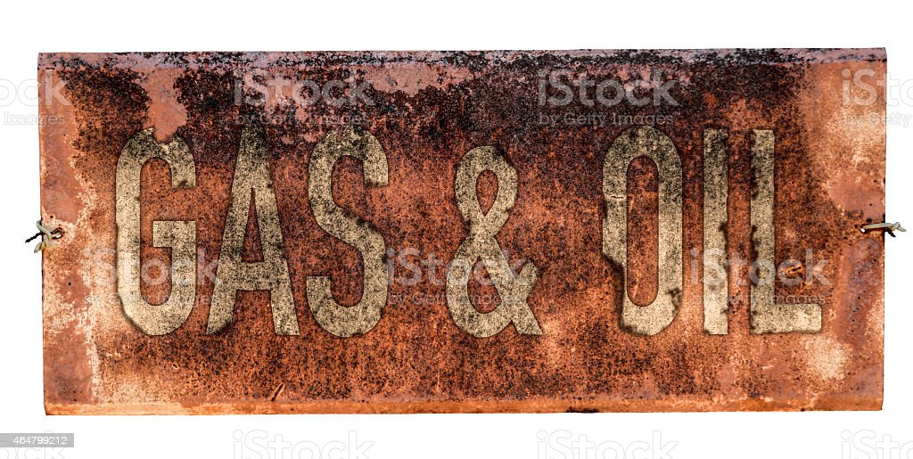 Grungy Old Gas And Oil Sign stock photo