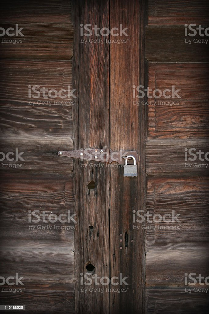 Grungy Old Locked Door royalty-free stock photo