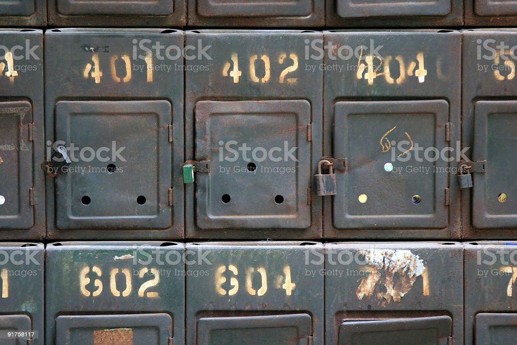 Grungy old metallic mailbox royalty-free stock photo