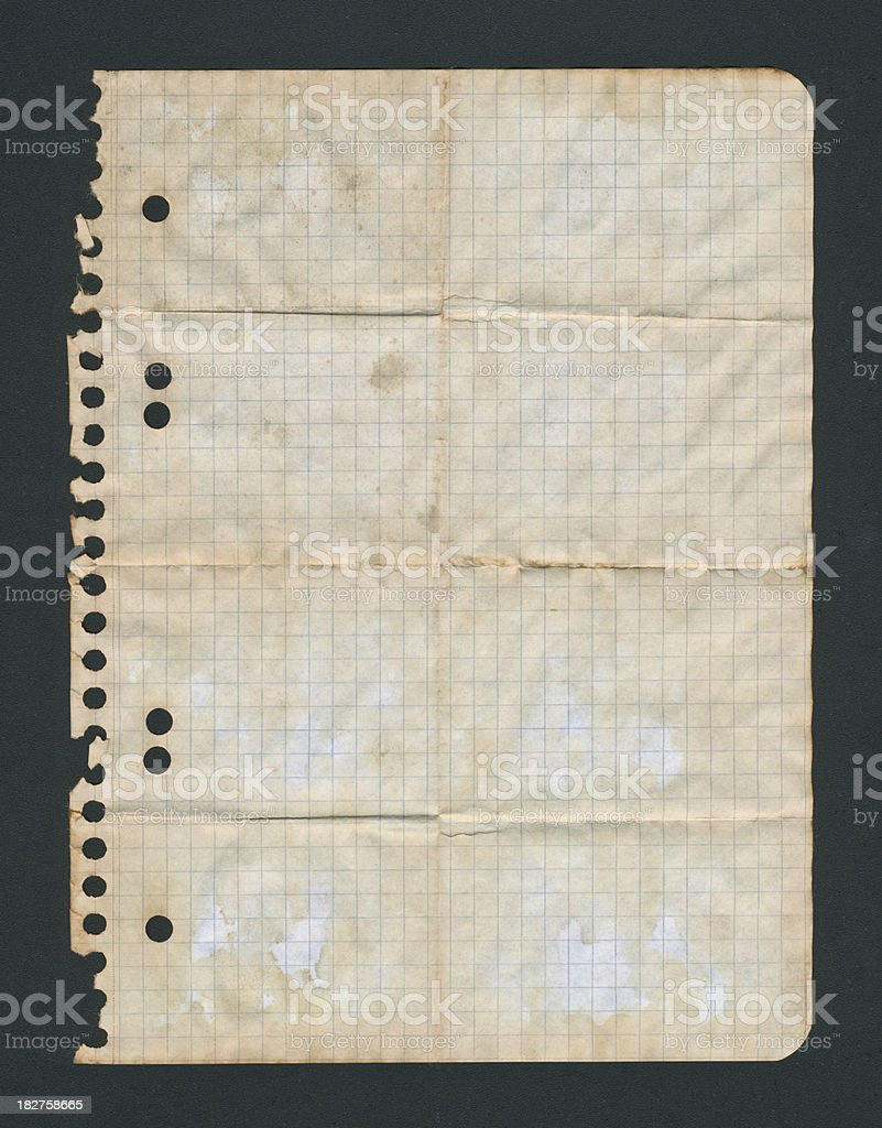 Grungy old notebook paper royalty-free stock photo